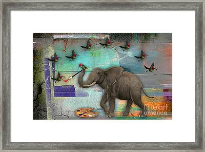 Elephant Painting Birds Out Of Thin Air. Framed Print by Marvin Blaine
