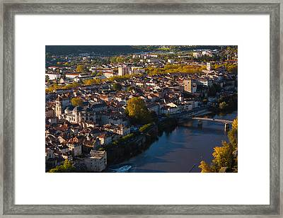 Elevated View Of A Town Viewed Framed Print by Panoramic Images