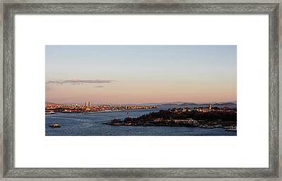 Elevated View Of Cityscape Framed Print