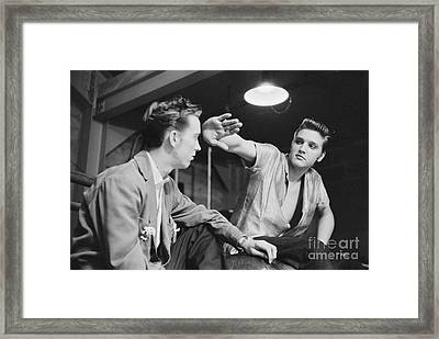 Elvis Presley And His Cousin Gene Smith 1956 Framed Print by The Harrington Collection