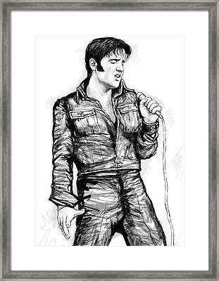 Elvis Presley Art Drawing Sketch Portrait Framed Print by Kim Wang