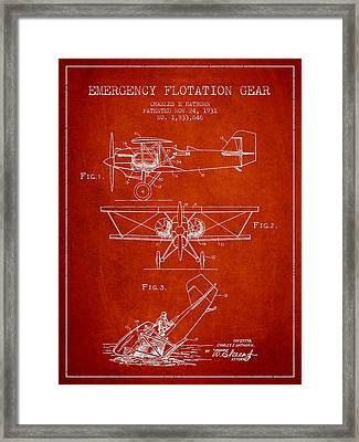 Emergency Flotation Gear Patent Drawing From 1931 Framed Print