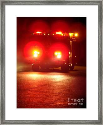 Fire Truck At Night Framed Print