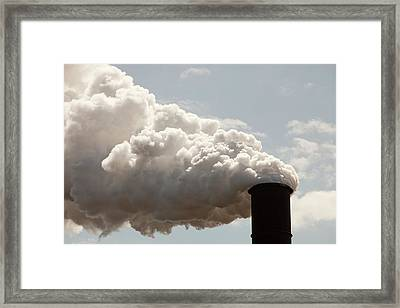 Emissions From The Bluescope Steel Works Framed Print by Ashley Cooper