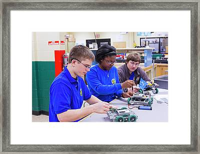 Engineering Academy Robotics Students Framed Print by Jim West
