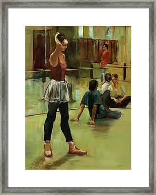 English National Ballet Dancers In The Studio Framed Print by Podi Lawrence