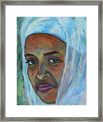 Framed Print featuring the painting Ethiopian Lady by Xueling Zou