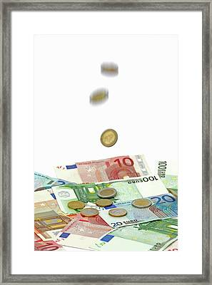 Euro Banknotes And Coins Framed Print by Bildagentur-online/mcphoto-schulz