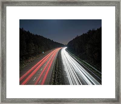 Evening Rush Hour On Motorway Framed Print