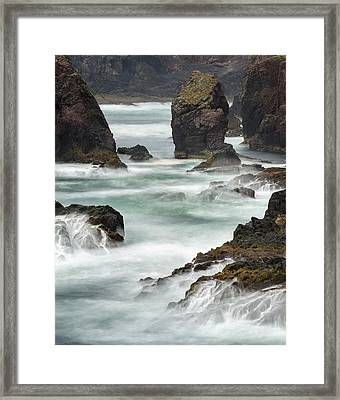 Famous Cliffs And Sea Stacks Of Esha Framed Print by Martin Zwick