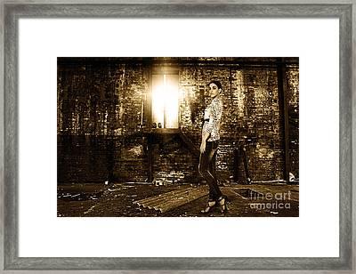 Fashion Model In Jeans  Framed Print by Milan Karadzic