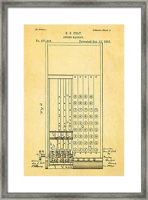 Felt Adding Machine Patent Art 1887 Framed Print