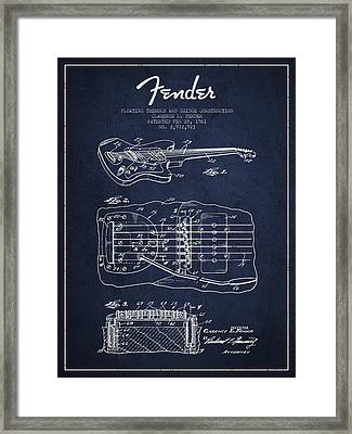 Fender Floating Tremolo Patent Drawing From 1961 - Navy Blue Framed Print