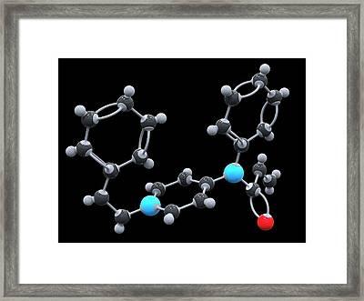 Fentanyl Drug Molecule Framed Print by Alfred Pasieka/science Photo Library