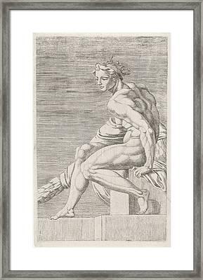 Figure From The Sistine Chapel, Rome Italy Framed Print by Dirck Volckertsz Coornhert And Maarten Van Heemskerck And Michelangelo