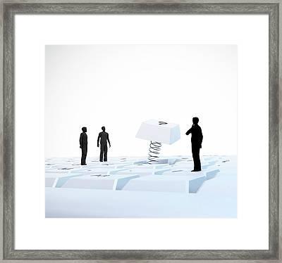 Figures On Computer Keyboard Framed Print by Andrzej Wojcicki