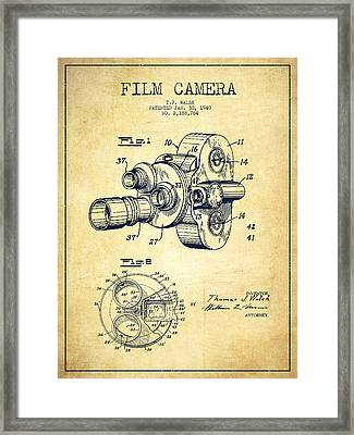 Film Camera Patent Drawing From 1938 Framed Print by Aged Pixel