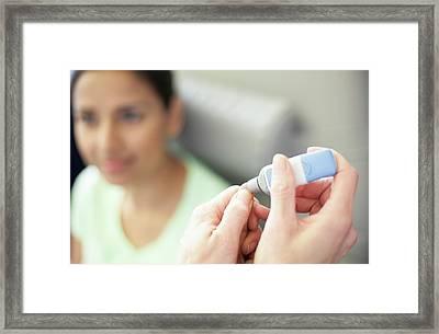Finger Prick For Blood Sampling Framed Print by Science Photo Library