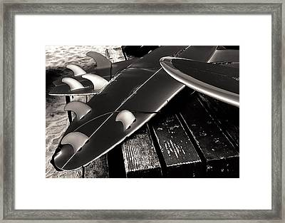 Fins And Boards Framed Print by Ron Regalado