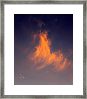 Framed Print featuring the photograph Fire In The Sky by Jeanette C Landstrom