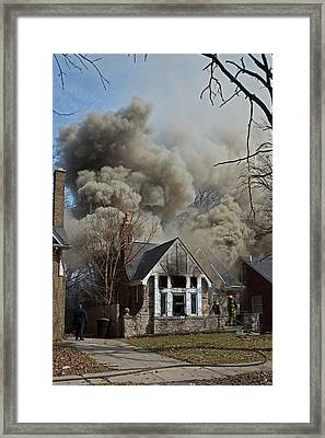Firefighters Attending A House Fire Framed Print