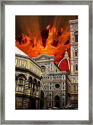 Framed Print featuring the photograph Firenze La Cattedrale Di Santa Maria Del Fiore - Florence The Cathedral Of Santa Maria Del Fiore by Ze  Di