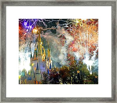 Fireworks Cinderellas Castle Walt Disney World Framed Print