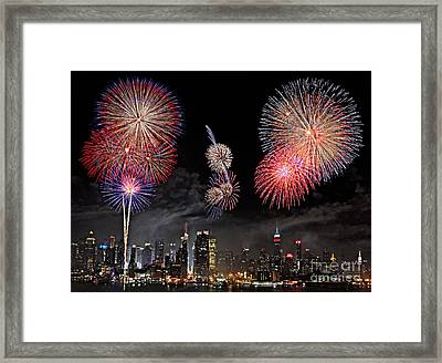 Framed Print featuring the photograph Fireworks Over New York City by Roman Kurywczak