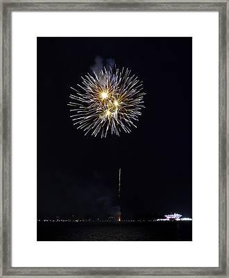 Fireworks Shell Burst Over The St Petersburg Pier Framed Print by Jay Droggitis