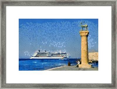 Fishing At The Entrance Of Mandraki Port Framed Print by George Atsametakis