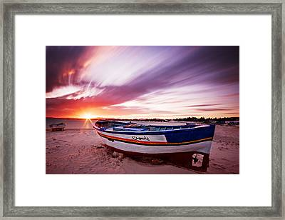 Framed Print featuring the photograph Fishing Boat At Sunset / Tunisia by Barry O Carroll