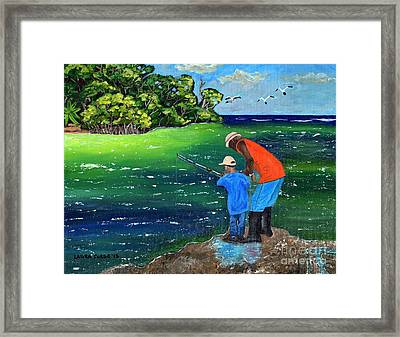 Framed Print featuring the painting Fishing Buddies by Laura Forde