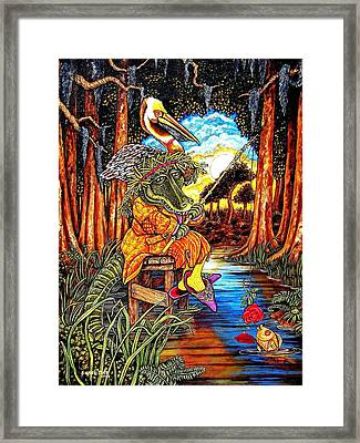 Fishing For Compliments Framed Print by Sherry Dole