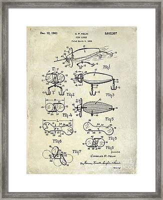 1961 Fishing Lures Patent Drawing  Framed Print