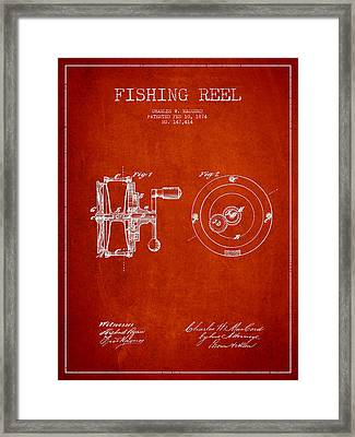 Fishing Reel Patent From 1874 Framed Print by Aged Pixel