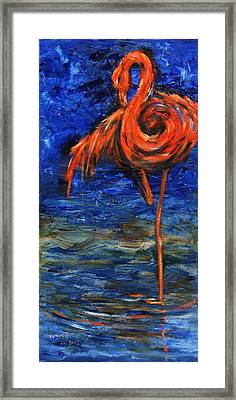 Framed Print featuring the painting Flamingo by Xueling Zou