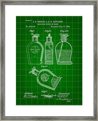 Flask Patent 1888 - Green Framed Print by Stephen Younts