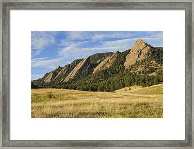 Flatirons With Golden Grass Boulder Colorado Framed Print