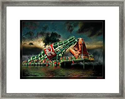 Floating Coke Bottle Framed Print