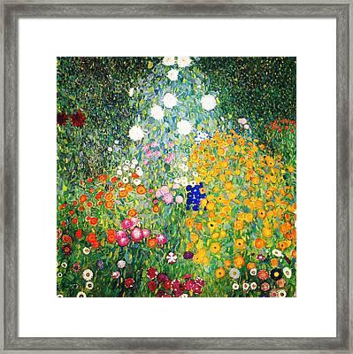 Framed Print featuring the painting Flower Garden by Gustav Klimt