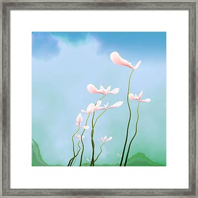 Flowers Of Peace Framed Print by GuoJun Pan
