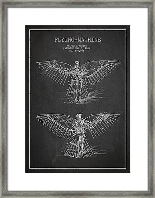 Flying Machine Patent Drawing Framed Print by Aged Pixel