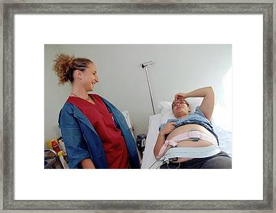 Foetal Monitoring In Prelabour Ward Framed Print by Aj Photo/science Photo Library