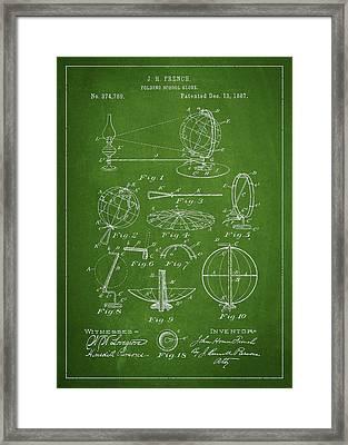 Folding School Globe Patent Drawing From 1887 Framed Print