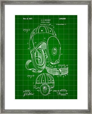 Football Helmet Patent 1927 - Green Framed Print by Stephen Younts