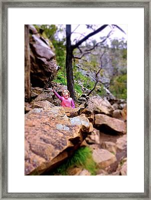 Little Girl In Forest Framed Print by Girish J