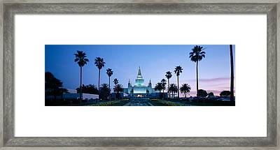 Formal Garden In Front Of A Temple Framed Print