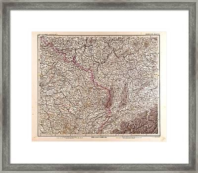 France Map 1874 Gotha Justus Perthes 1872 Atlas Framed Print