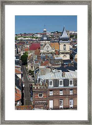 France, Normandy, Dieppe, Elevated City Framed Print by Walter Bibikow