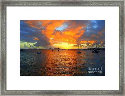 Frank Bay St. John U. S. Virgin Islands Sunset Framed Print by Catherine Sherman